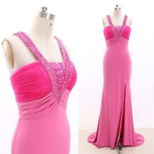 Straps Crystal Sheath Pink Prom Dress Evening Gown